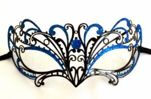 Chelsea Mermaid Blue Masquerade Mask with Aqua Blue Glitter Made in Italy