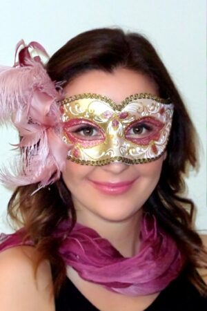 Annalyse Venetian Feather Mask Pink Gold