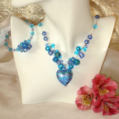 Murano Necklace Heart Caviar NL & BL Set Aqua