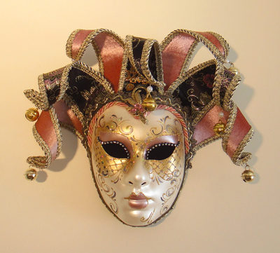 Pierrina Life size Venetian Jester Mask Rose colour