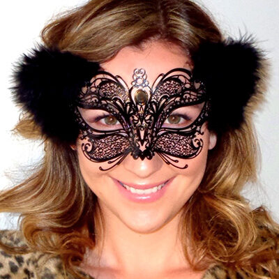 Whiskers & Fur Black Cat Mask with Malibou Feather Ears