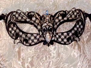 Adele Black Metal Lace Lightweight Venetian Mask