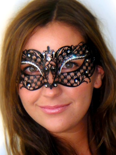 Adele Masquerade Mask with Clear Swarovski Crystals