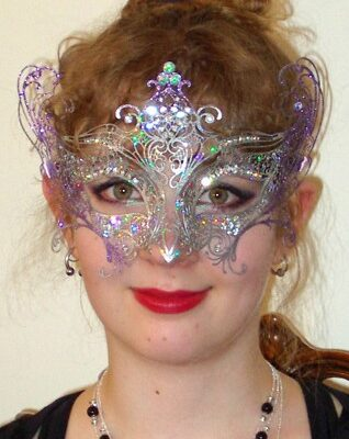 Angel Mask Italian Made Silver Violet
