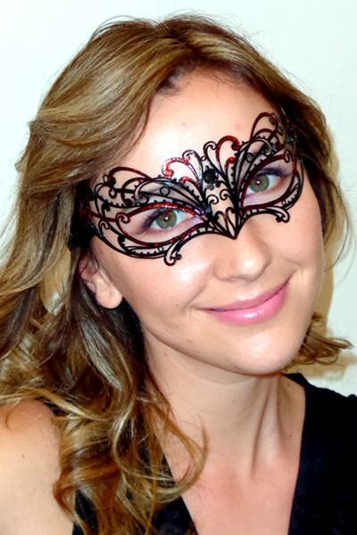 Chelsea Black Metal Filigree Masquerade Mask with Red Glitter Embellishment