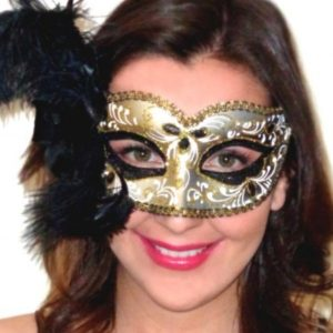 Annalyse Feathered Mask Gold Black