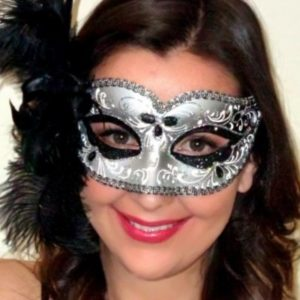 Annalyse Feathered Black Silver Mask
