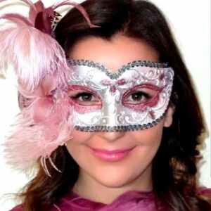 Annalyse Pink Feathered Mask Silver