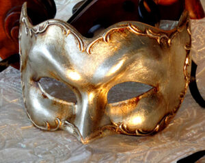 Antonio Silver Zane Venetian Mask Made in Italy with Silver Leaf Finish