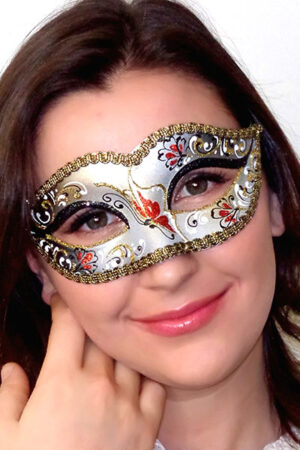 Bianca Masquerade Mask with Red Black Detail