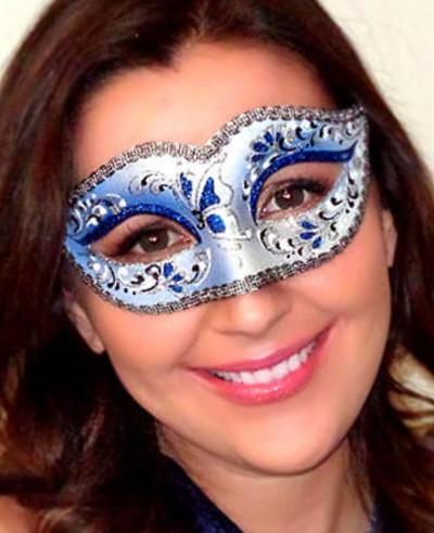 Bianca Italian Masquerade Mask in Sapphire Blue