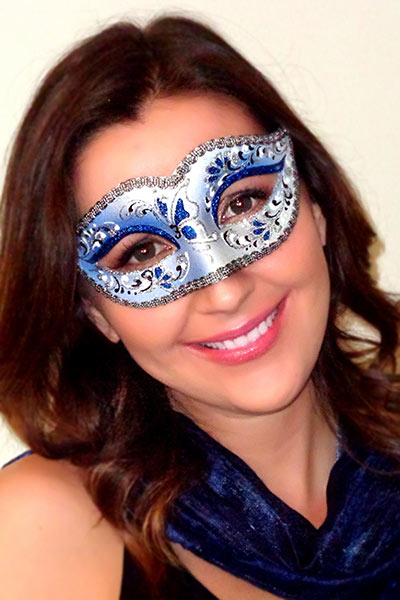 Bianca Venetian Masquerade Mask Saphire Blue