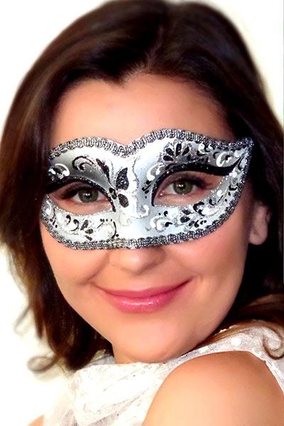 Bianca Black Silver Masquerade Mask Black Silver