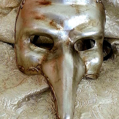 Cyrano Silver Masquerade Mask with Large Nose