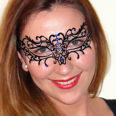 Enchant Black Ladies Mask with Nightfire Swarovski Blue Crystals