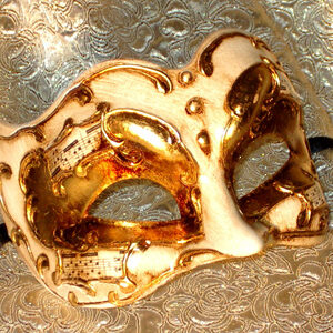 Gilded Melody Zane Large Mans Mask for Masquerade with Music Paper and Gold Leaf Finish