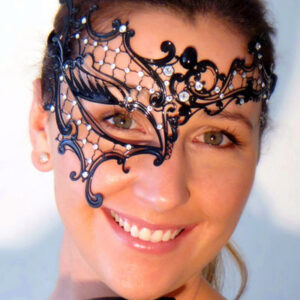 Gothic Ladies Phantom Mask with Clear Swarovski Crystals