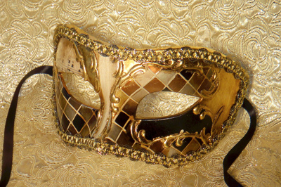 Melodramatic Eye Mask Gold Leaf with Hand Painted Artwork Made in Italy