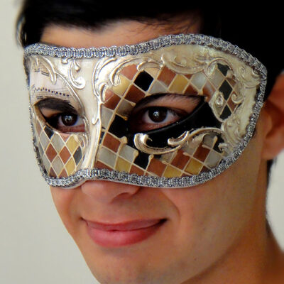 Melodramatic Eyes Silver Mens Masquerade Mask Hand Painted Made in Italy