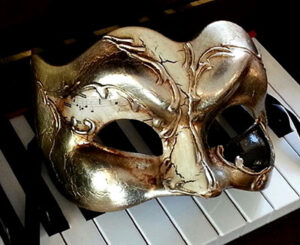 Music Theme Zane Silver Men's Masquerade Mask for Large Man