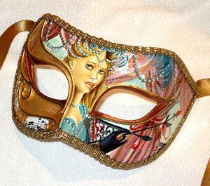 Parisienne Aqua Masquerade Mask