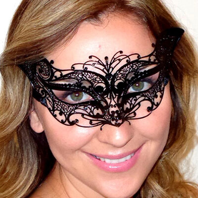 Petite Fit Cat Mask in Black Metal Lace