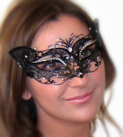 Petite Cat Costume Mask with Clear Swarovski Crystals
