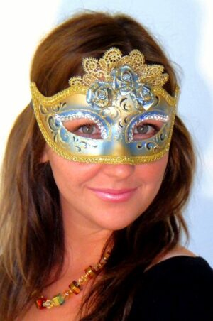 Masquerade Mask Marie Antoinette Blue