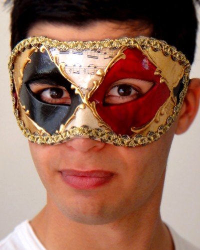 Ruby Eyes Mens Venetian Mask