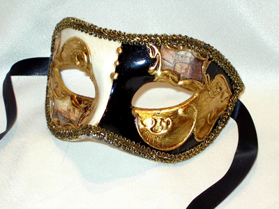 Venetian Eyes Black Gold Masquerade Mask for Men Made in Italy