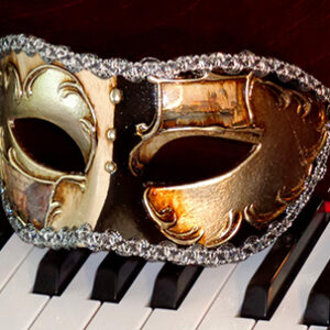 Venetian Eyes in Black Silver Italian Made Men's Mask for Masquerade