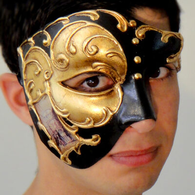Venetian Phantom Mask Gold Made in Italy in the style of Phantom of the Opera