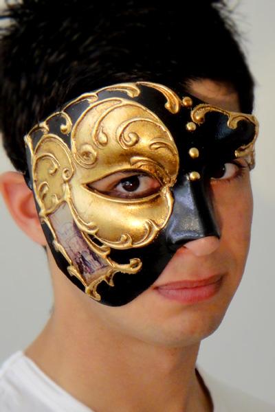 Venetian Phantom Mask Gold Made in Italy in the style of Phantom of the Opera