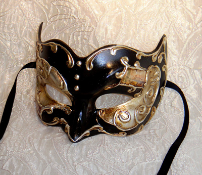 Venetian Black Mens Mask