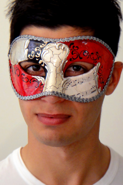 Vivaldi Eyes Silver Venetian Mask Made in Italy