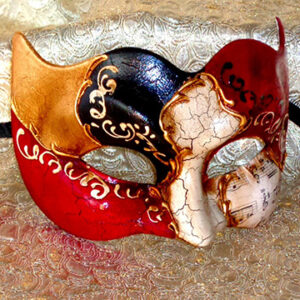 Vivaldi Zane Gold Masquerade Mask for Large Man Made in Italy