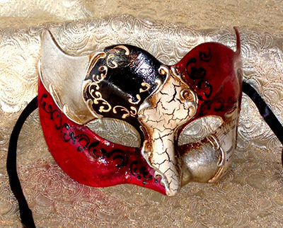 Vivaldi Zane Silver Masquerade Mask for Large Man Made in Italy