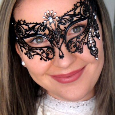 Exotic Black Masquerade Mask Clear Crystals