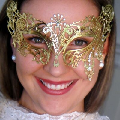 Gold Masquerade Mask with Crystals