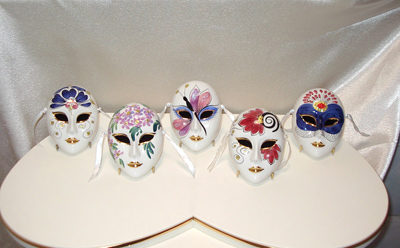 Alana Medium Ceramic Mask Set hand painted in Venice