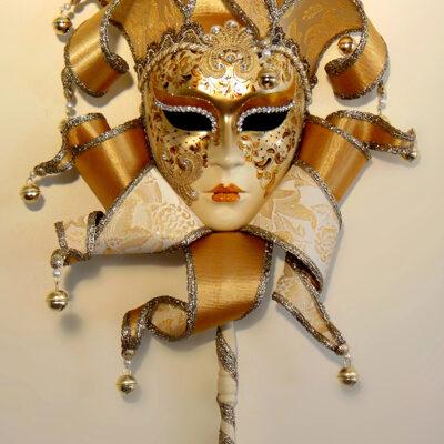Diana Elizabethan on stick Gold Decorator Mask