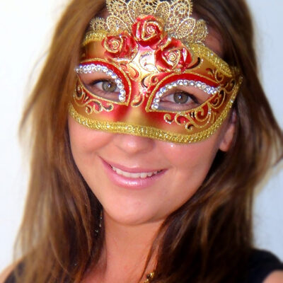Roses & Lace Red with Clear Swarovski Crystals Italian Made Venetian Mask