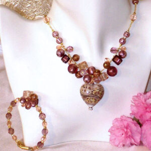 Murano Necklace Caviar Heart Necklace & Bracelet Set