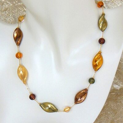 Eves Autumn Murano Necklace made from Murano Glass Beads