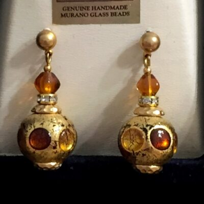 Amber Murano Morocan Lantern Earrings