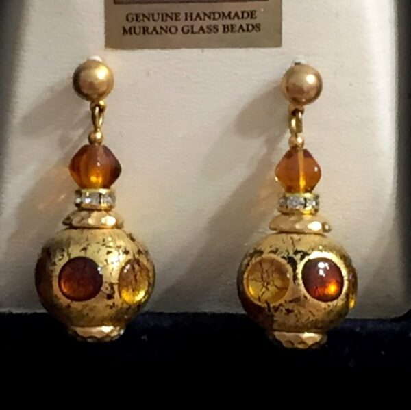 Amber Murano Morocan Lantern Earrings