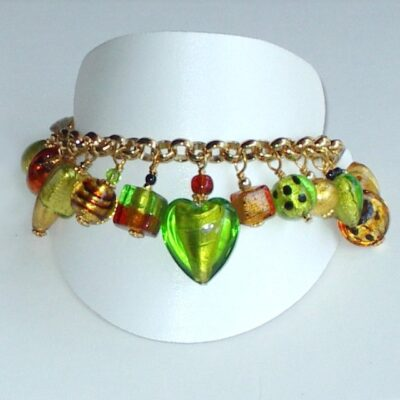 Murano Glass Bracelet Lime Charm