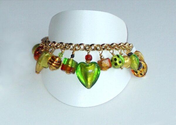 Murano Glass Bracelet Lime Charm