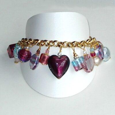 Murano Glass Jewelry Bracelet Amethyst Charm