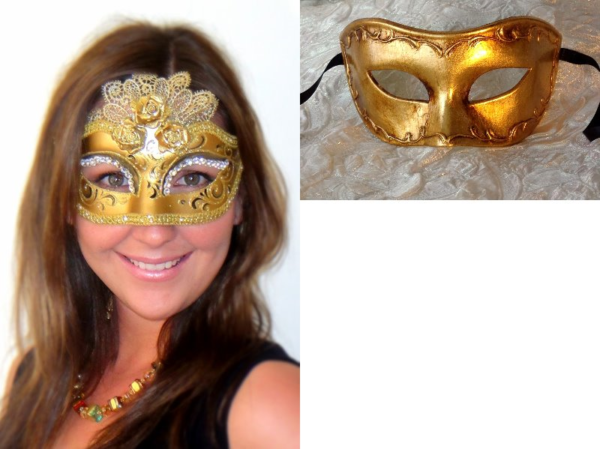 Couples Masquerade Masks in Gold